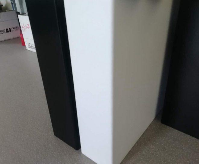 white & black cash drawer